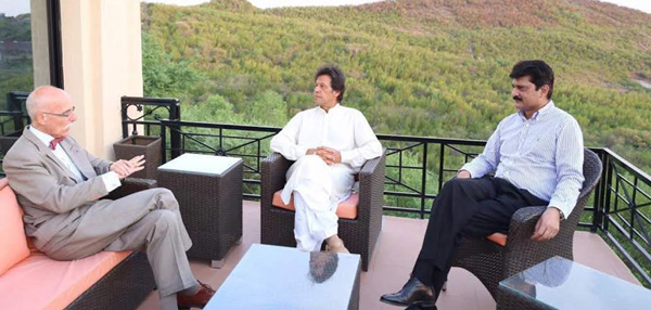 Ambassador of European Union, Jean-Francois Cautain meeting with PTI Chairman Imran Khan at Bani Gala in Islamabad on Wednesday. - DNA