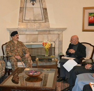 COAS Gen Raheel Sharif with President of the Islamic Republic of Afghanistan  Mohammad Ashraf Ghani in Kabul on Sunday.