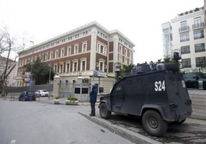 An armoured police vehicle alert in front of the German Consulate, which is closed on indications of a possible attack in Istanbul on Thursday.